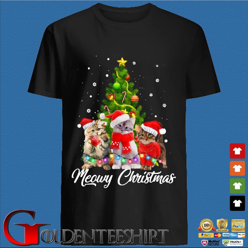 Santa cats Meowy Christmas tree sweater den Shirt