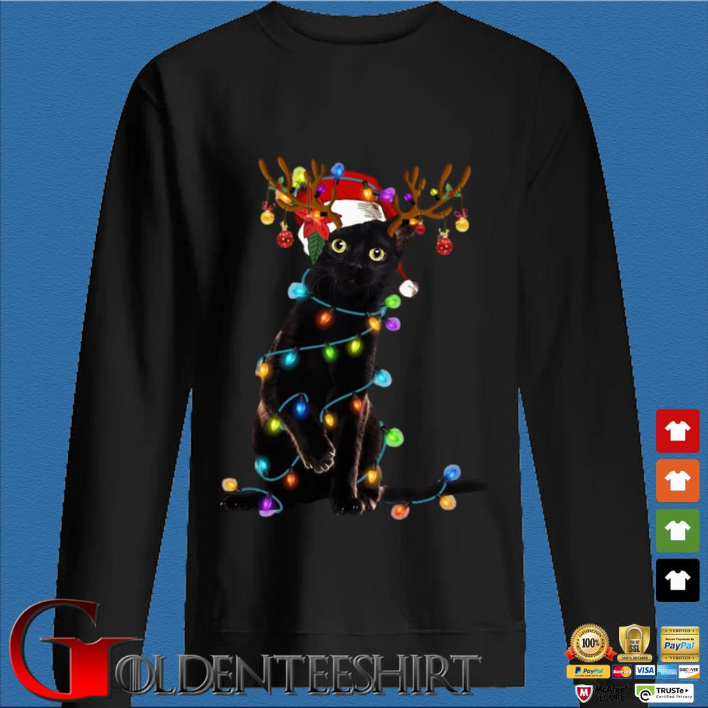 Santa Reindeer black cat light Christmas sweater