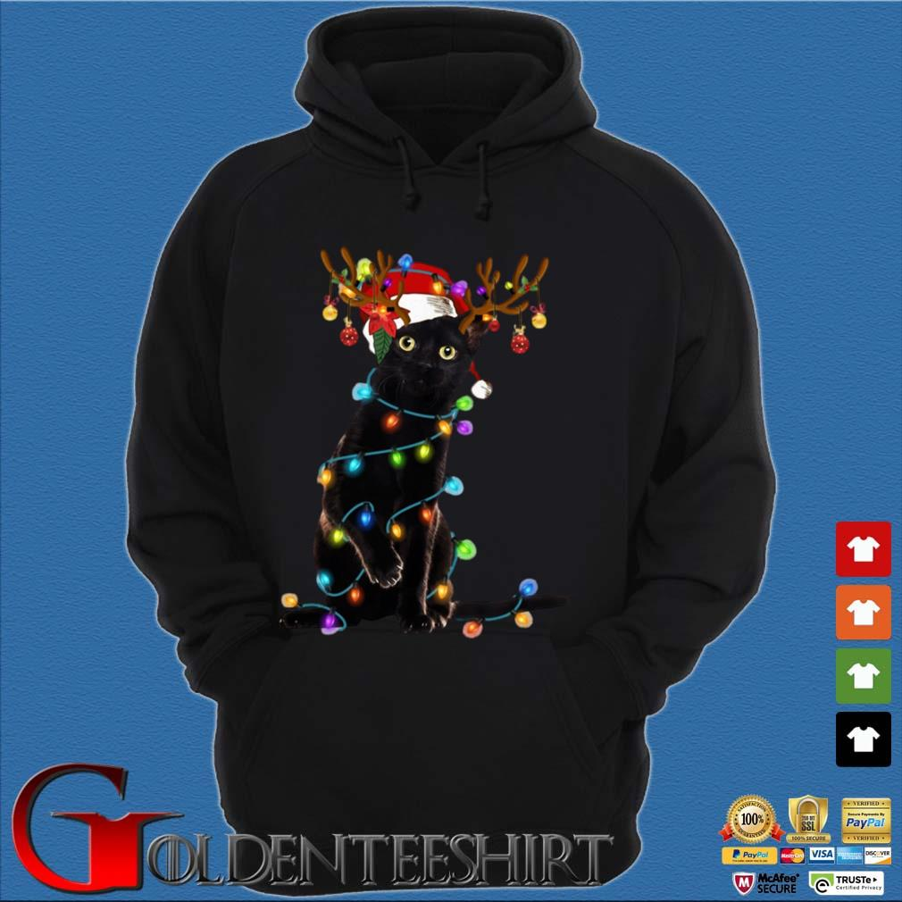 Santa Reindeer black cat light Christmas sweater Hoodie đen