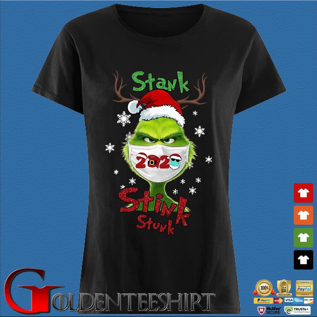 Santa Reindeer Grinch face mask 2020 stank stink stunk Christmas sweater Den Ladies
