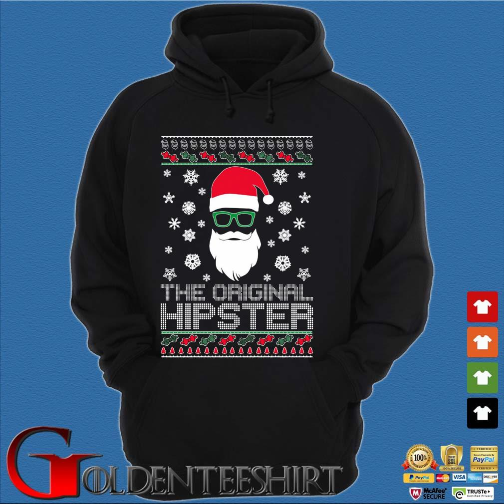 Santa the original hipster Ugly Christmas sweater Hoodie đen