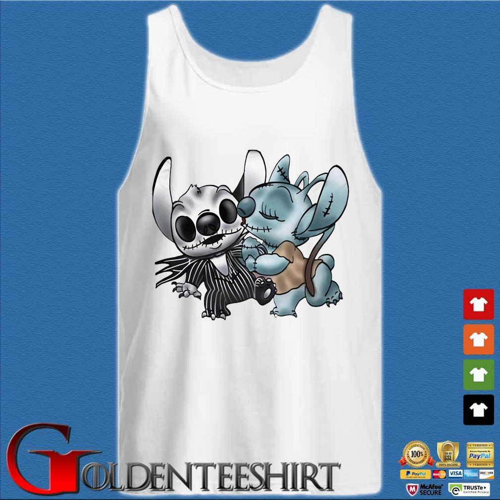 Stitch Jack Skellington and Sally s Tank top trắng