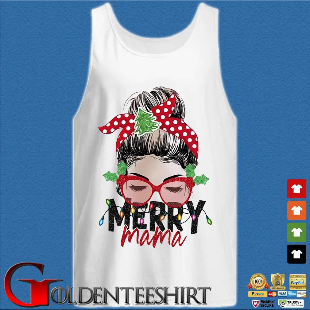 Strong Girl Merry Mama Christmas Sweater Tank top trắng