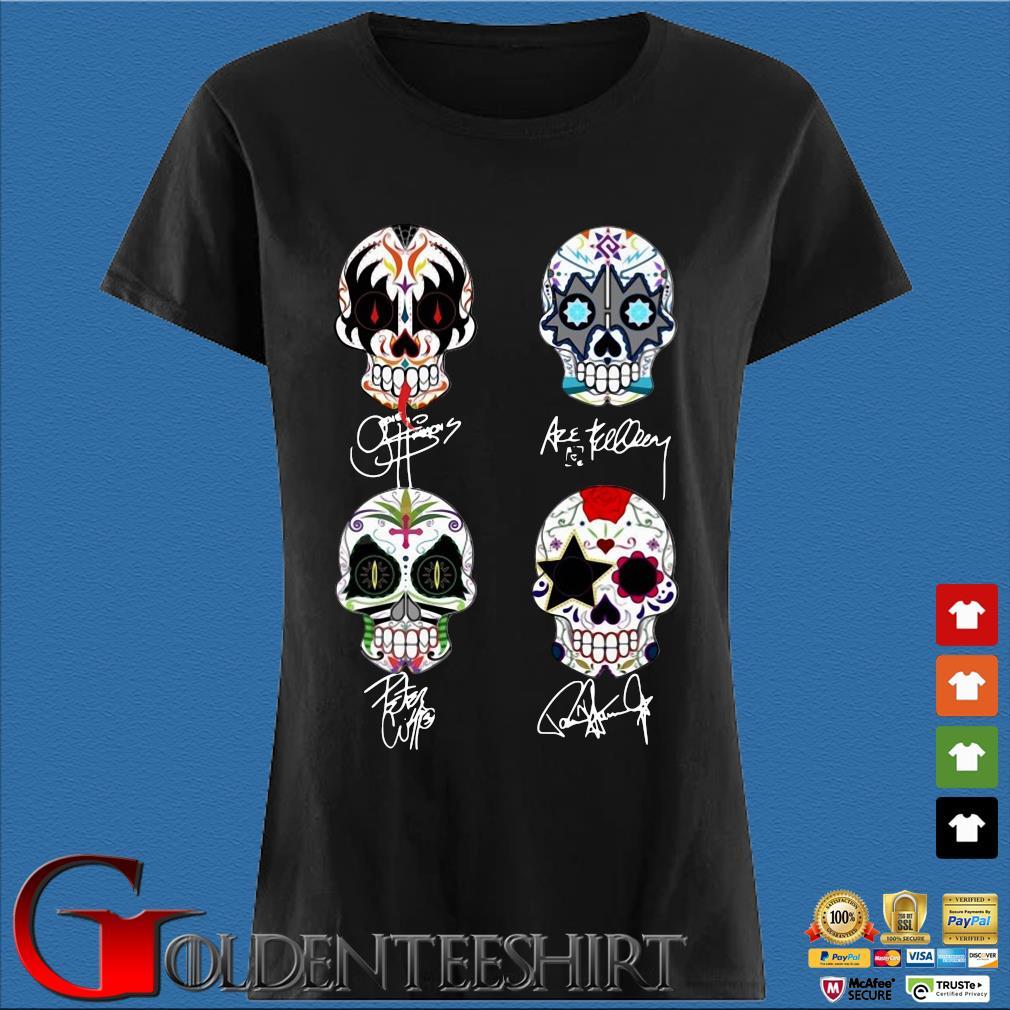 Sugar Skull Kiss Band Signatures Shirt Den Ladies