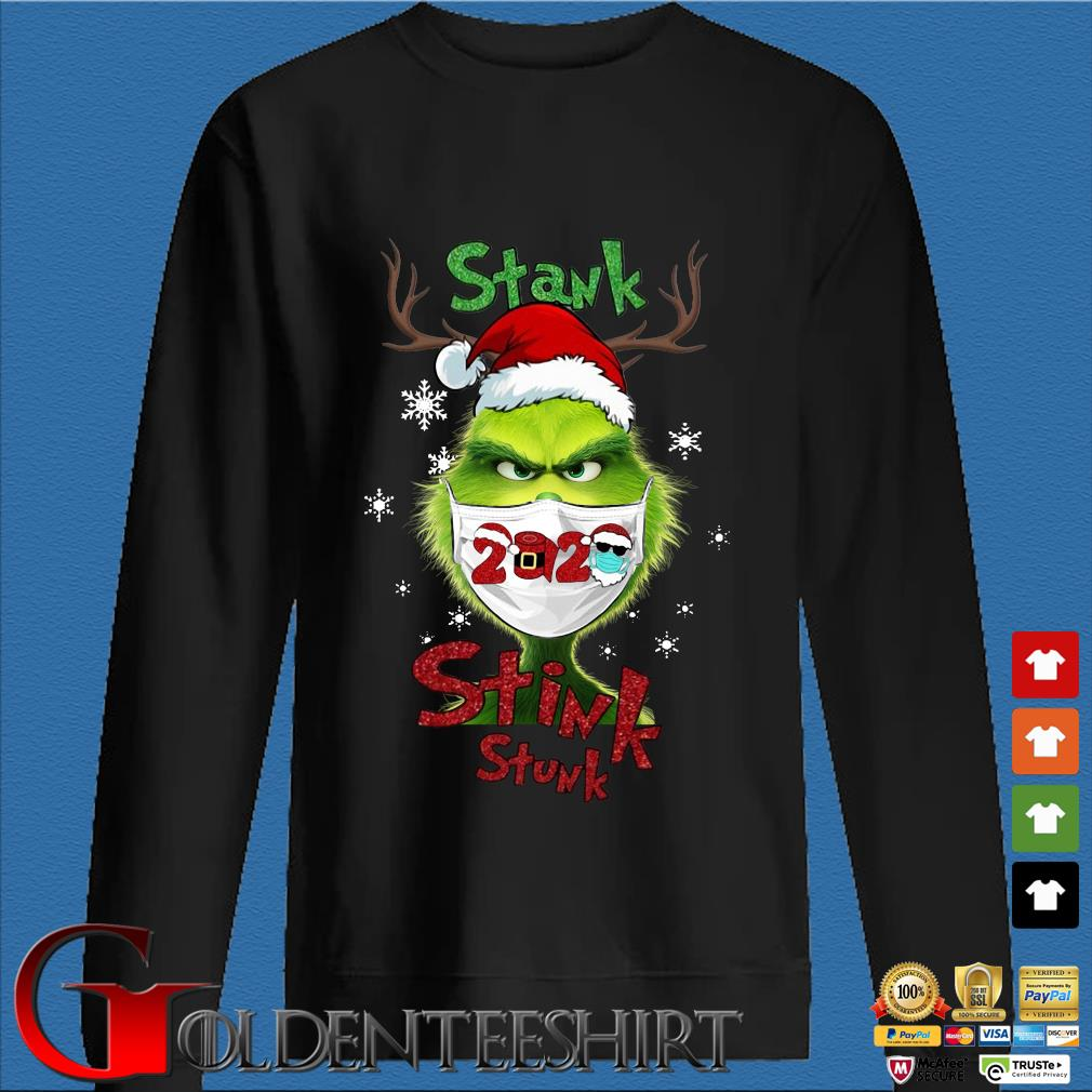 The Grinch face mask 2020 stank stink stunk Christmas sweater
