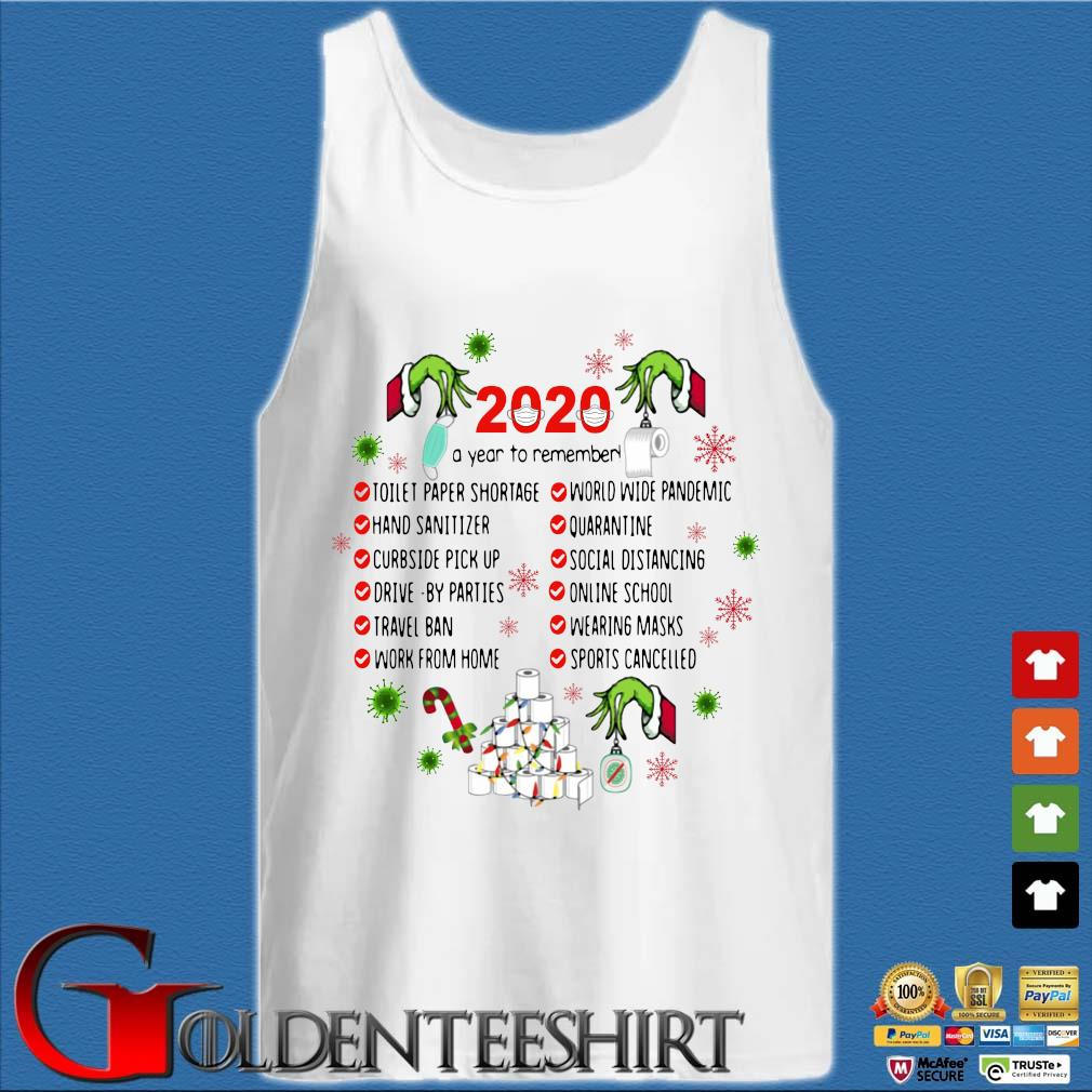 The Grinch hand 2020 a year to remember toilet paper shortage Christmas sweater Tank top trắng