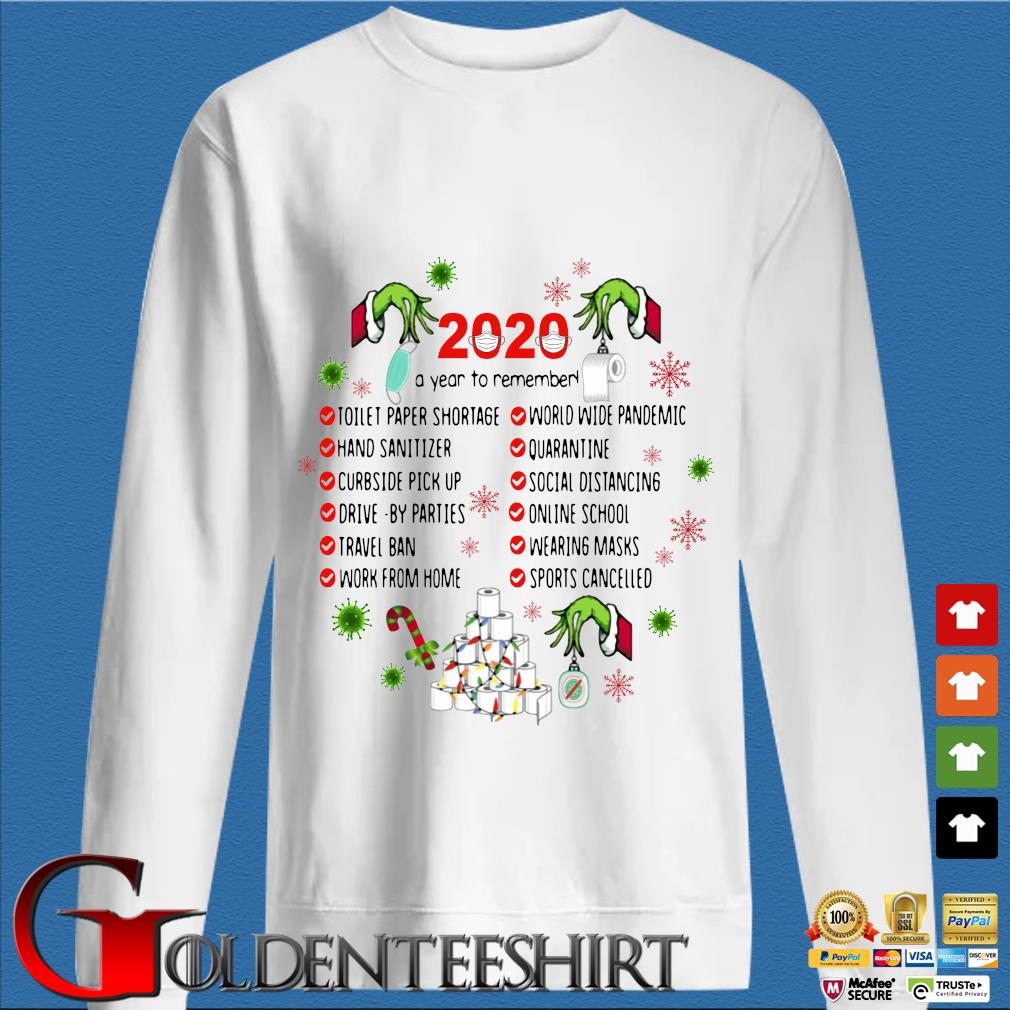 The Grinch hand 2020 a year to remember toilet paper shortage Christmas sweater