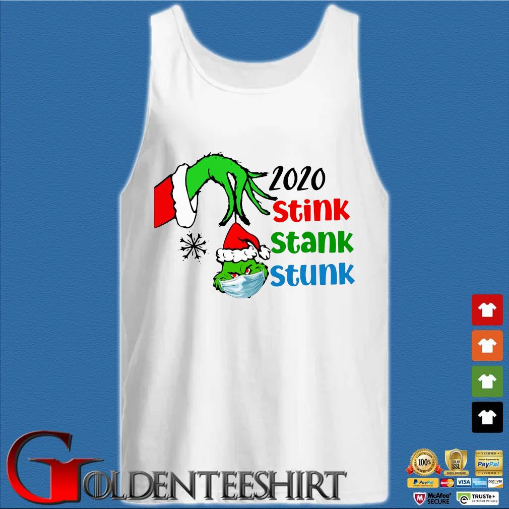 The Grinch hand hold Grinch head face mask 2020 stink stunk stank Christmas sweater Tank top trắng