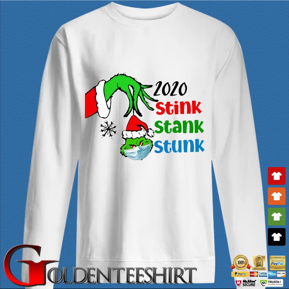 The Grinch hand hold Grinch head face mask 2020 stink stunk stank Christmas sweater