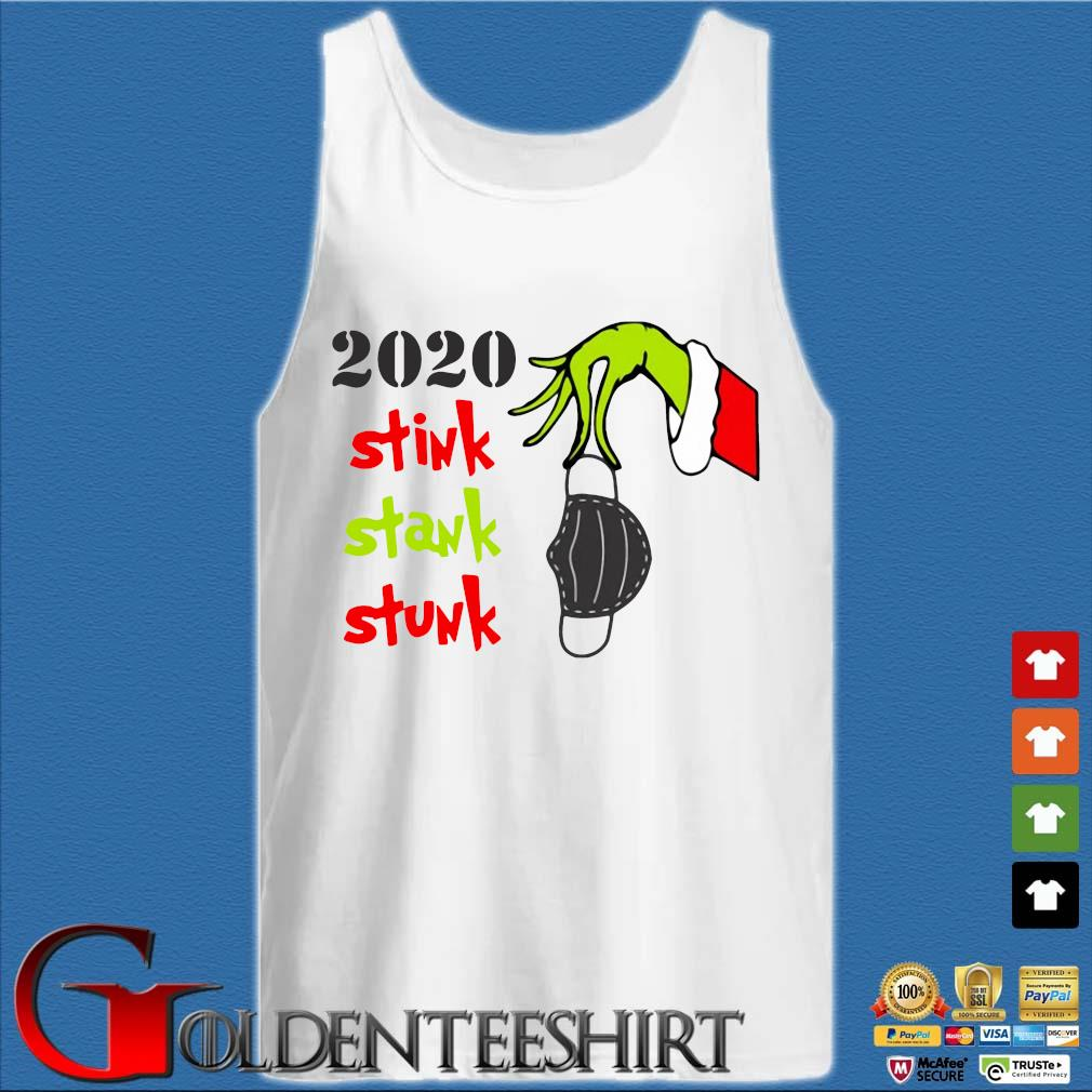 The Grinch hand holding mask 2020 stink stank stunk Christmas sweater Tank top trắng