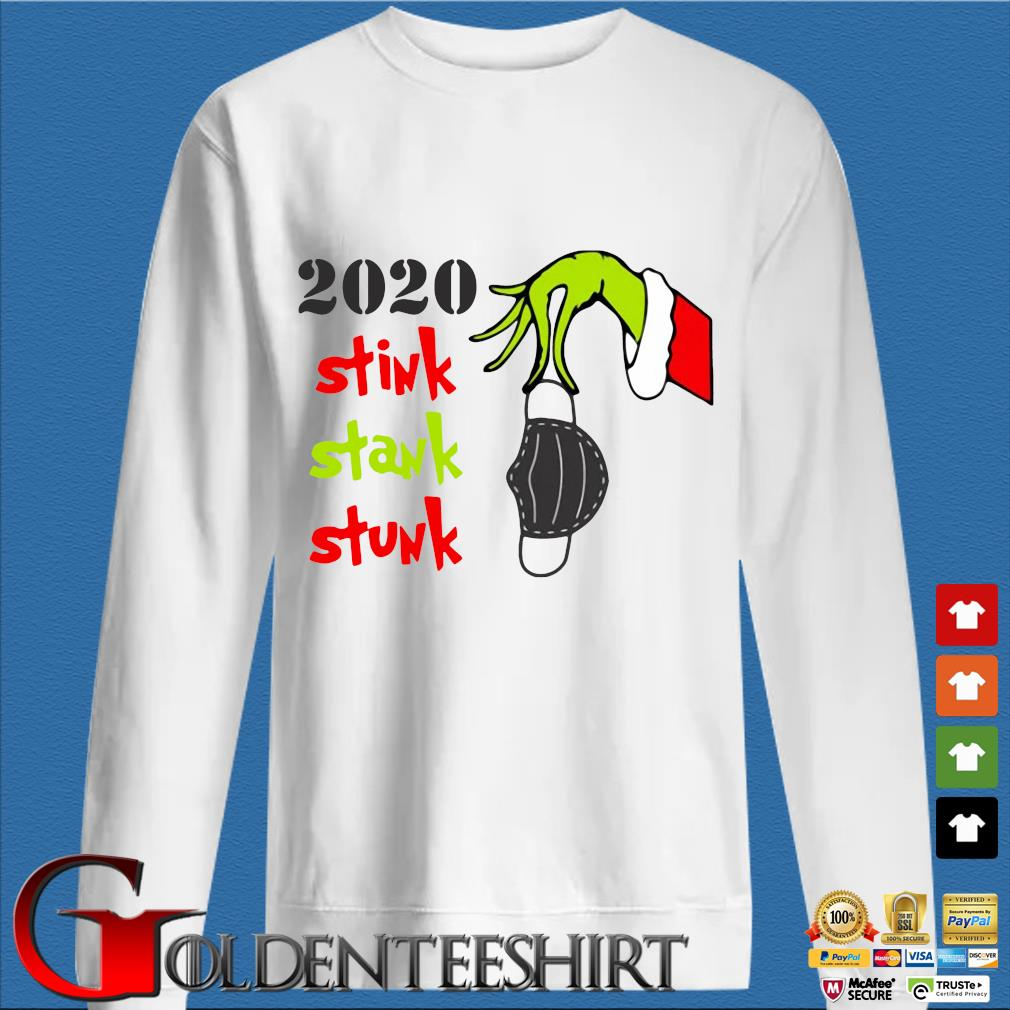 The Grinch hand holding mask 2020 stink stank stunk Christmas sweater