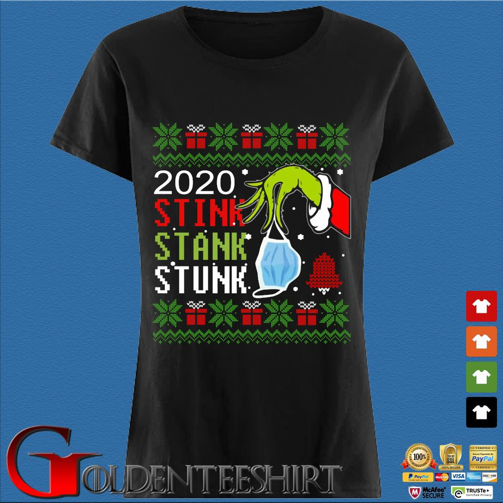 The Grinch hand holding mask 2020 stink stank stunk Ugly Christmas sweater Den Ladies
