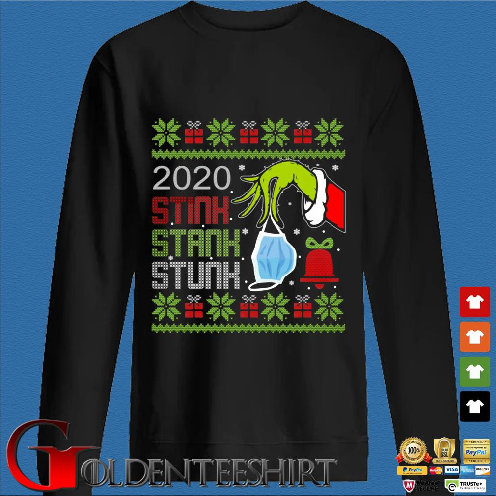 The Grinch hand holding mask 2020 stink stank stunk Ugly Christmas sweater