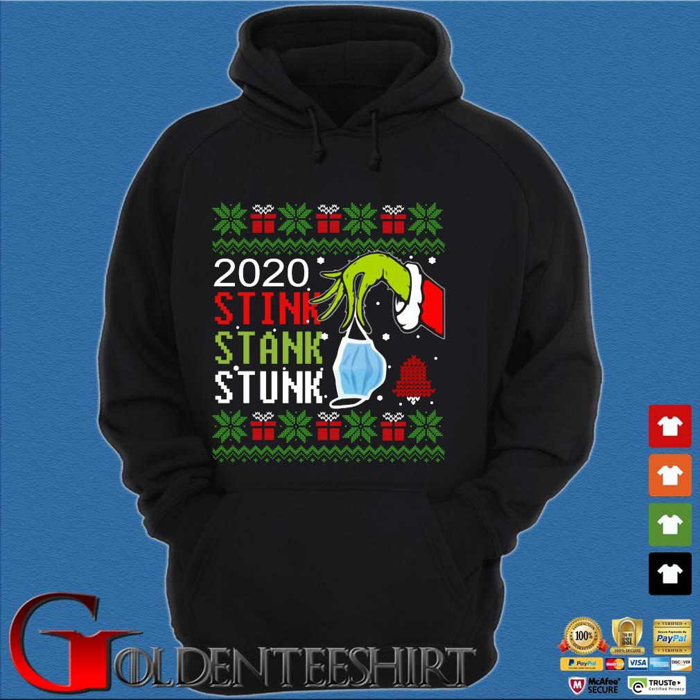 The Grinch hand holding mask 2020 stink stank stunk Ugly Christmas sweater Hoodie đen