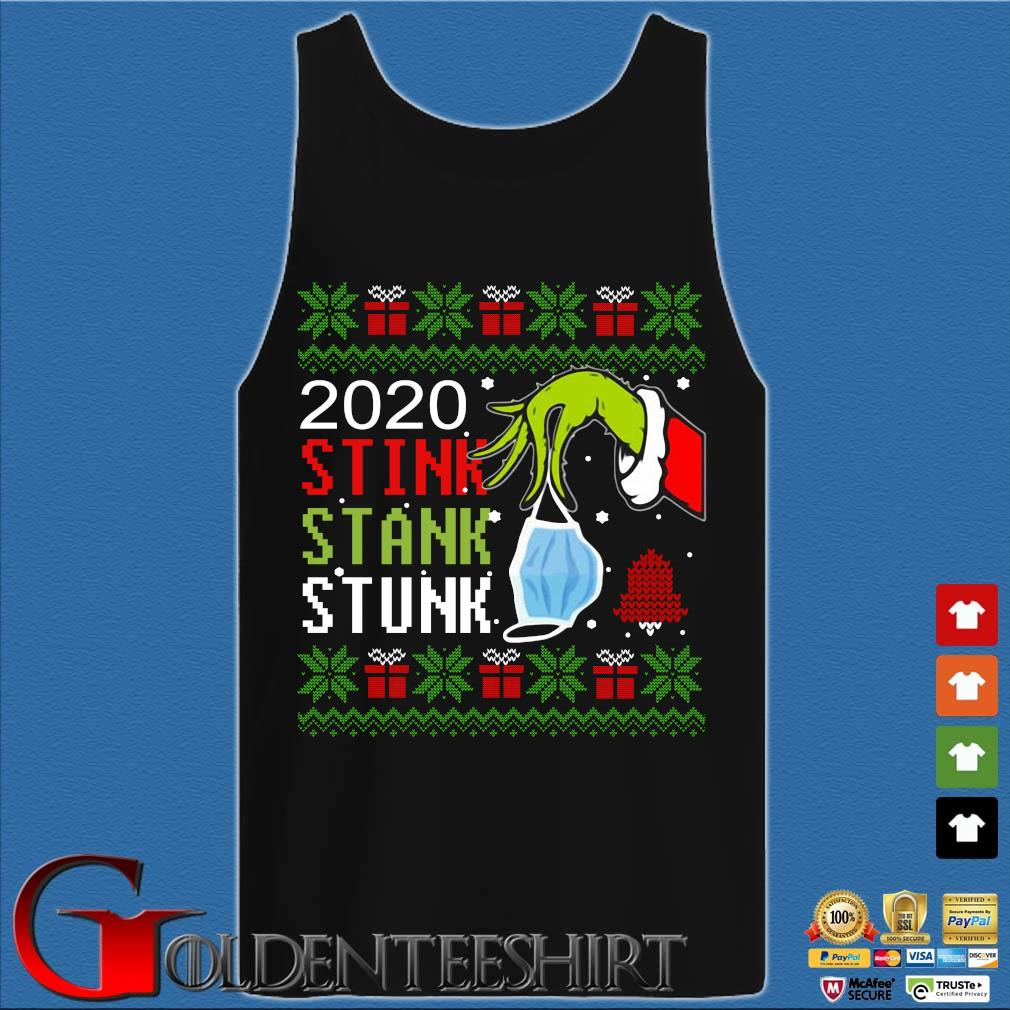 The Grinch hand holding mask 2020 stink stank stunk Ugly Christmas sweater Tank top den