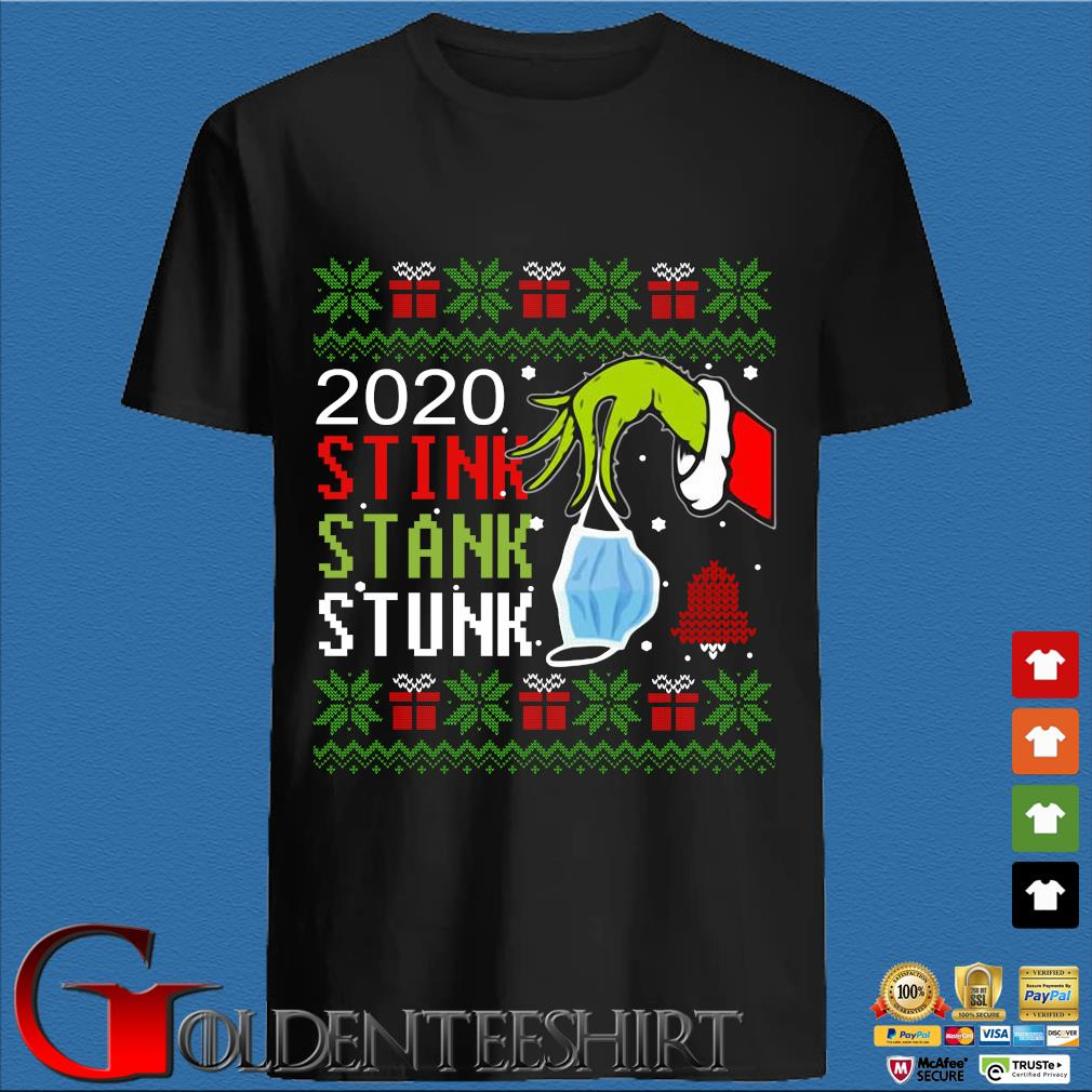The Grinch hand holding mask 2020 stink stank stunk Ugly Christmas sweater den Shirt