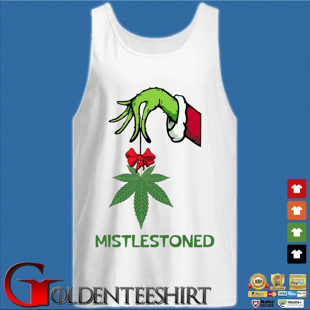 The Grinch holding cannabis mistlestoned Christmas sweater Tank top trắng