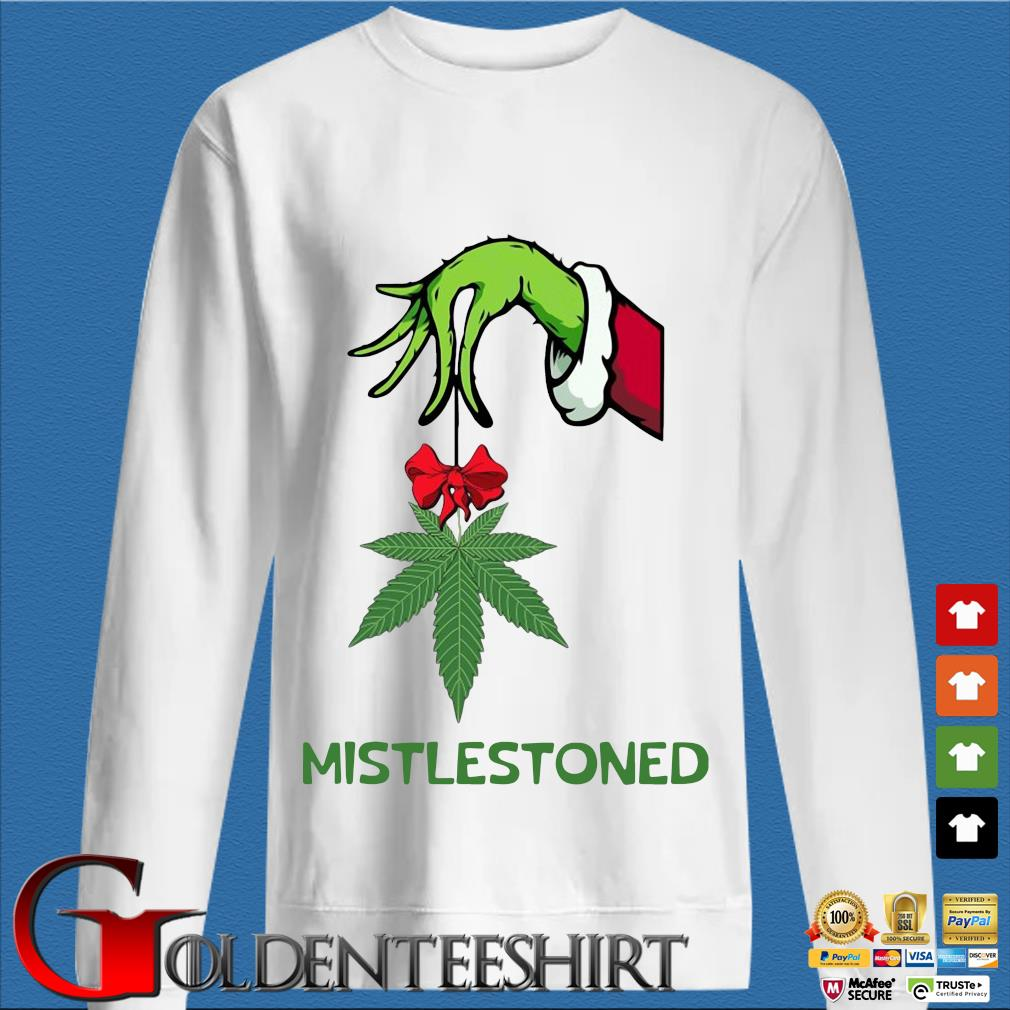 The Grinch holding cannabis mistlestoned Christmas sweater