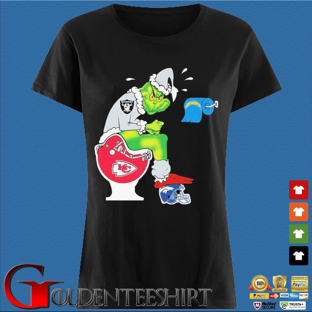 The Grinch Las Vegas Raiders Shit On Toilet Kansas City Chiefs And Other Teams Christmas Sweater Den Ladies