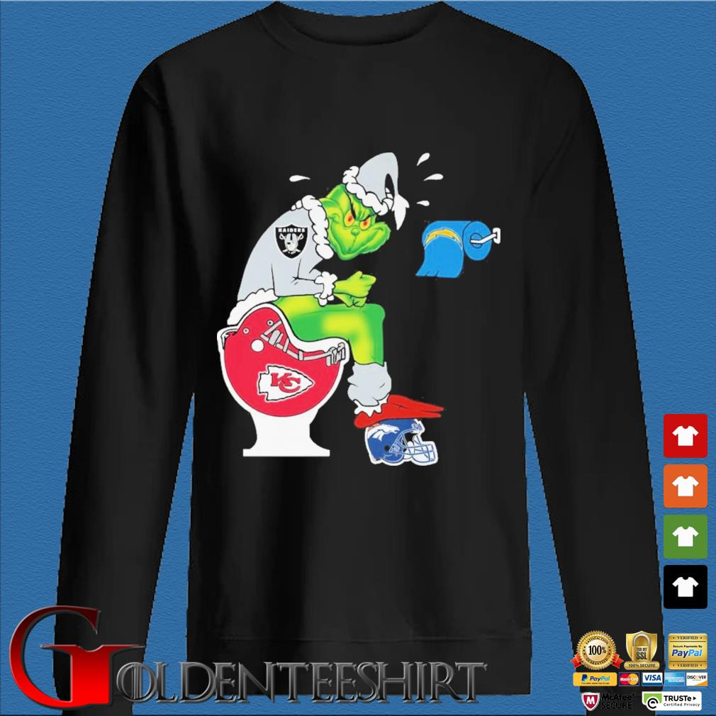 The Grinch Las Vegas Raiders Shit On Toilet Kansas City Chiefs And Other Teams Christmas Sweater