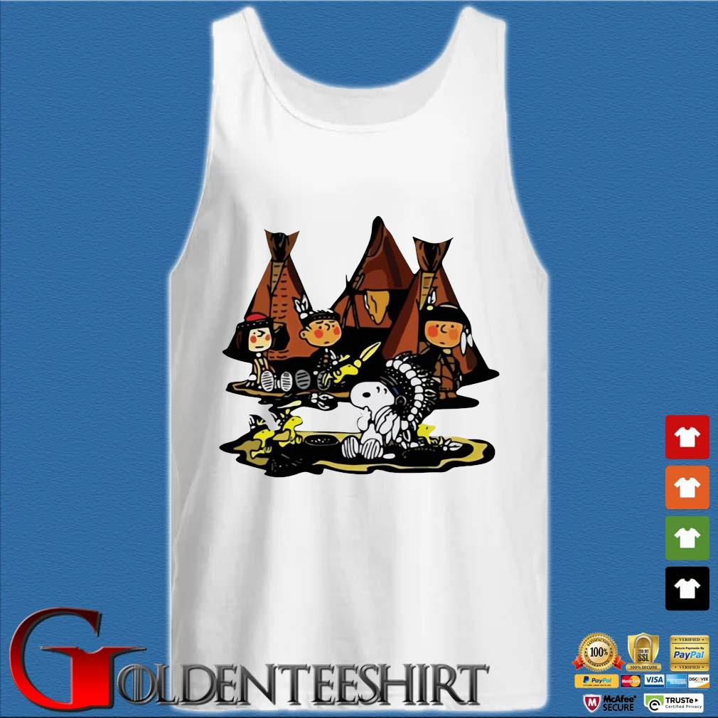 The Peanuts Character Snoopy And Friends Camping Native Shirt Tank top trắng