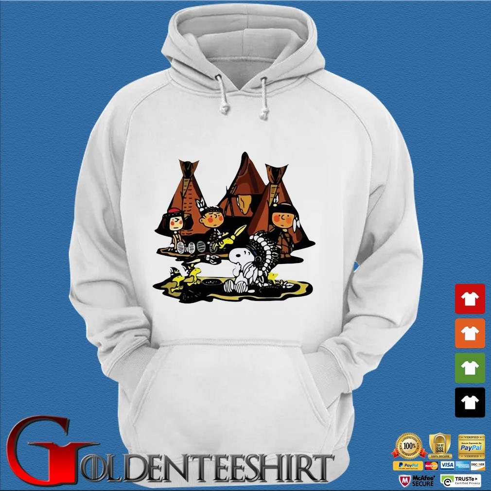 The Peanuts Character Snoopy And Friends Camping Native Shirt Trang Hoodie