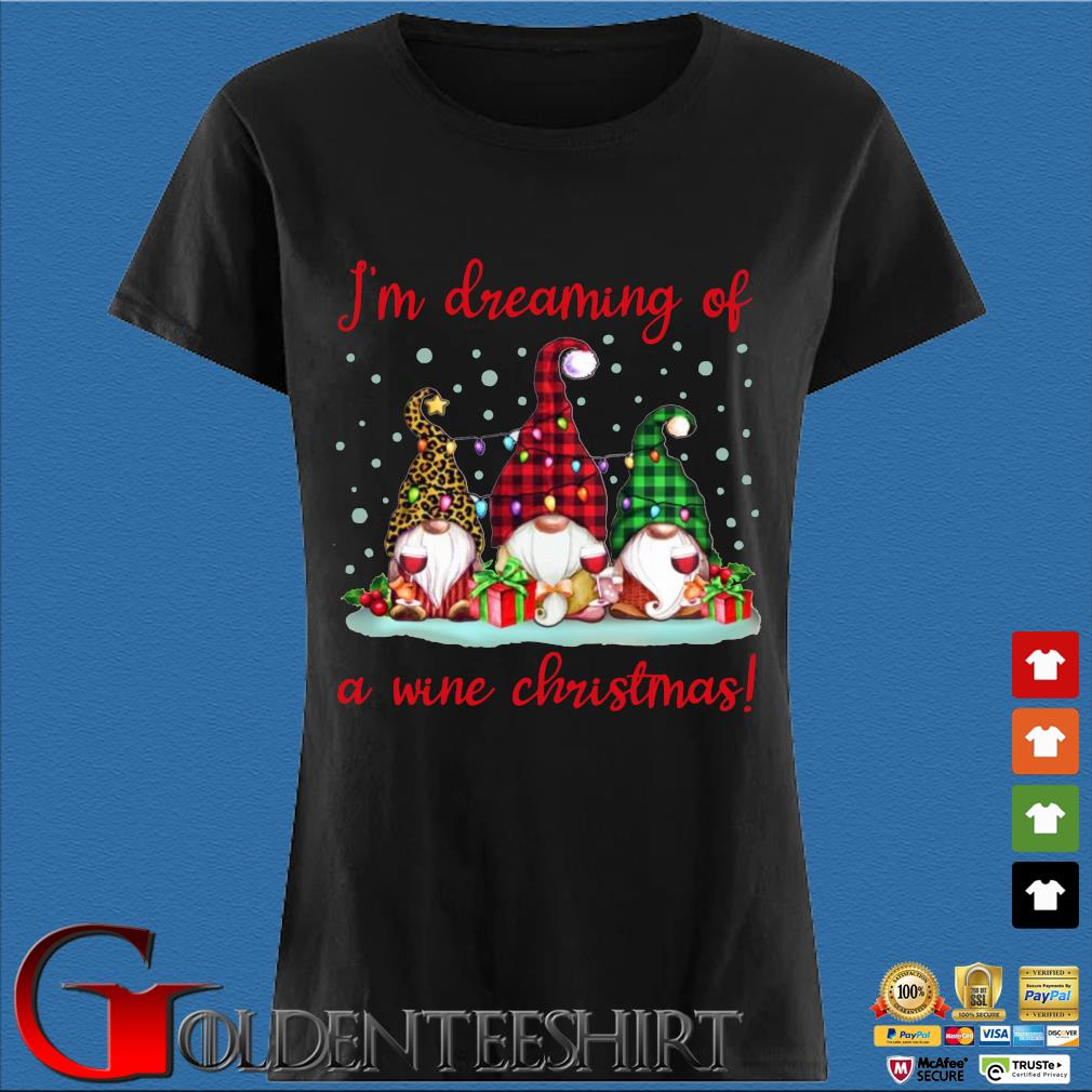 Three Gnomes light I'm dreaming of a wine Christmas sweater Den Ladies