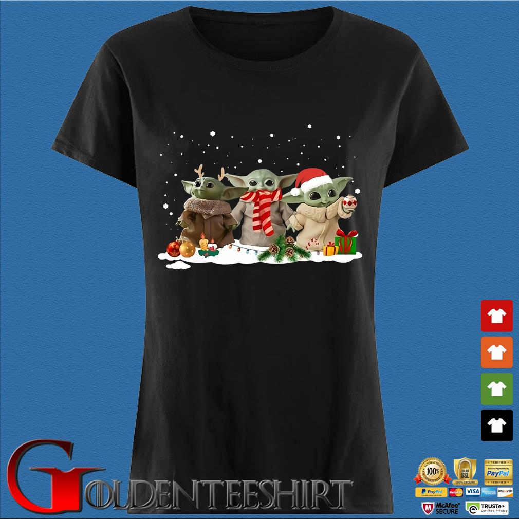 Three Santa Baby Yoda Christmas sweater Den Ladies