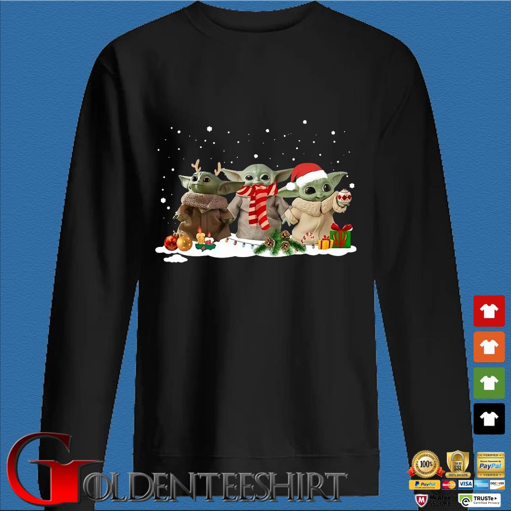 Three Santa Baby Yoda Christmas sweater