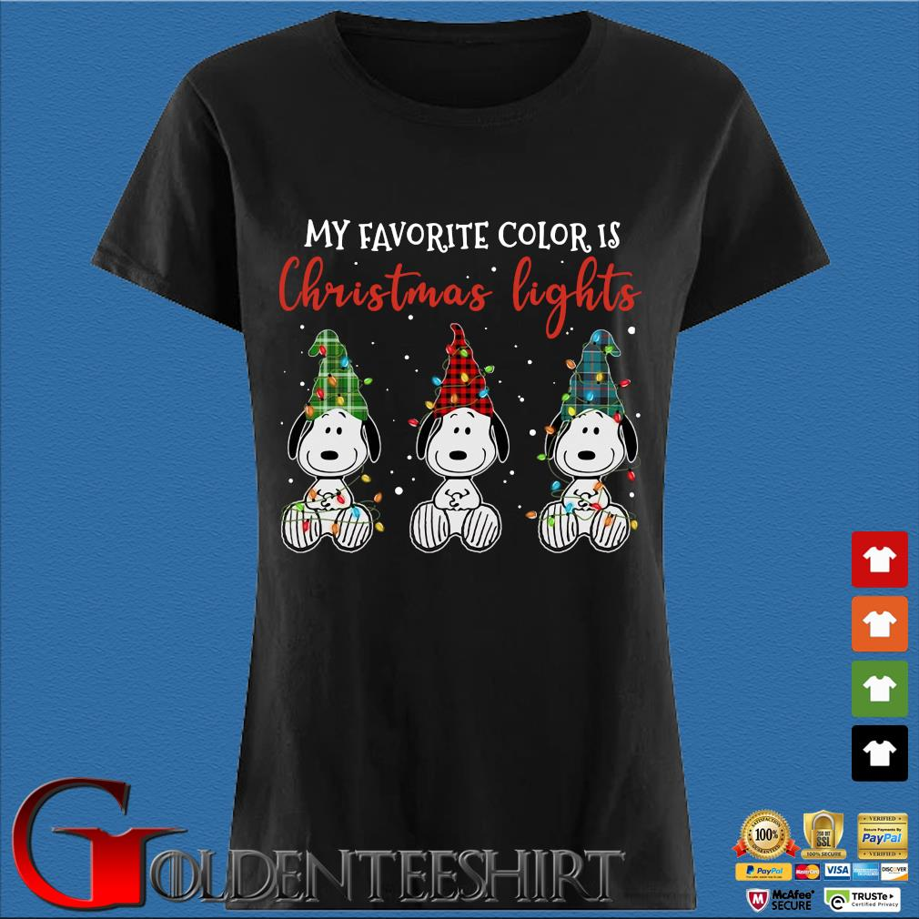 Three Snoopy my favorite color is Christmas light sweater Den Ladies