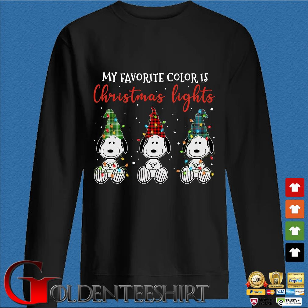 Three Snoopy my favorite color is Christmas light sweater