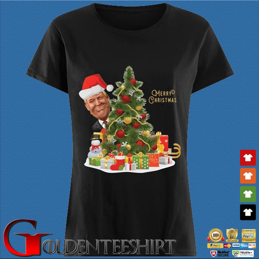 Trump Merry Christmas Tree Shirt Den Ladies