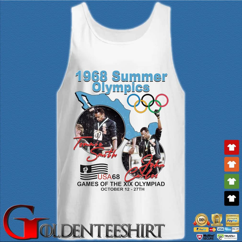 1968 summer Olympics Tommie Smith John Carlos USA68 games of the XIX Olympiad october 12 27 th s Tank top trắng