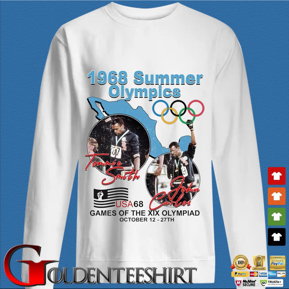 1968 summer Olympics Tommie Smith John Carlos USA68 games of the XIX Olympiad october 12 27 th shirt