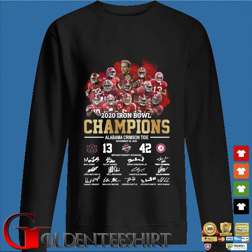 2020 Iron bowl Champions Alabama Crimson Tide signatures shirt
