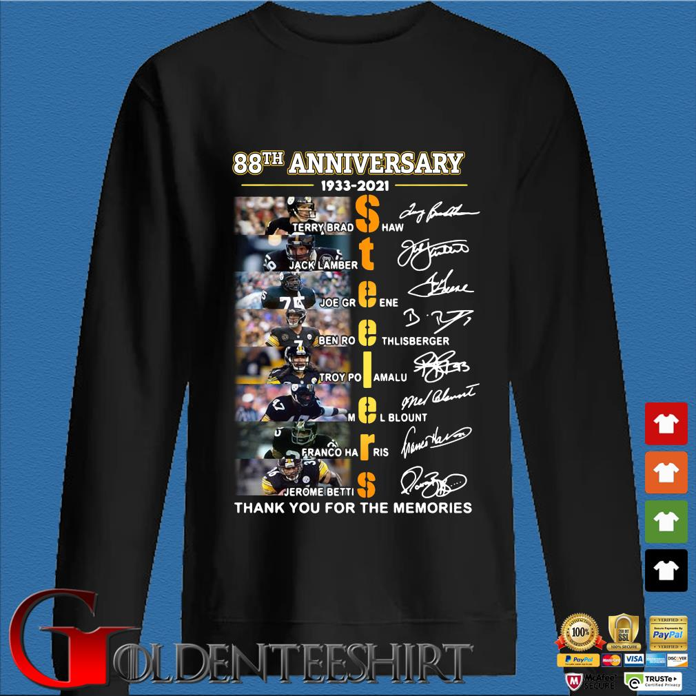 88th anniversary 1933-2020 Pittsburgh Steelers thank you for the memories signatures shirt