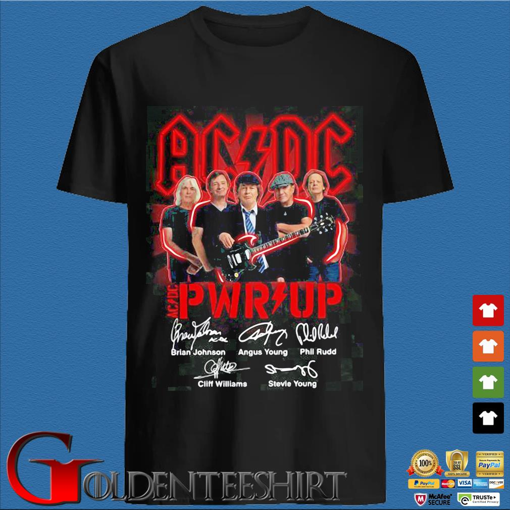 ACDC Pwr up signatures s den Shirt