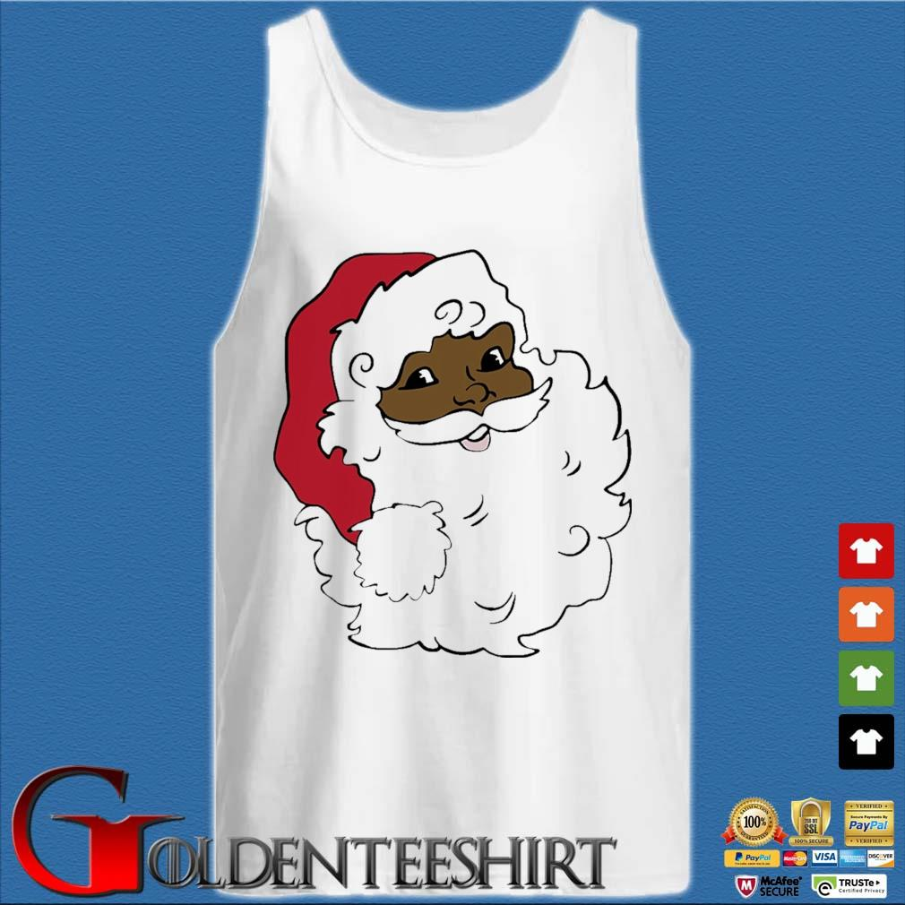 African American Santa Claus Merry Christmas sweater Tank top trắng