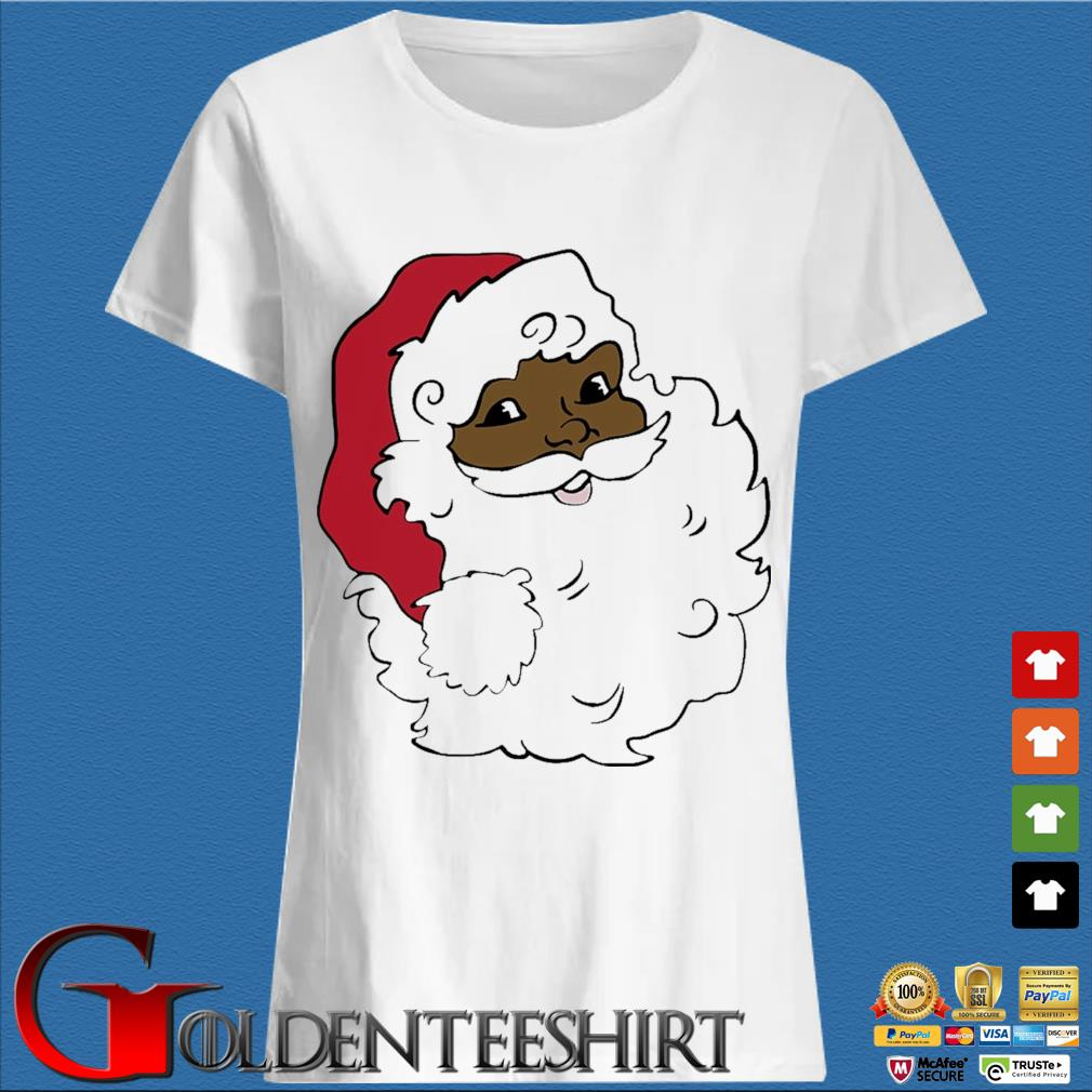 African American Santa Claus Merry Christmas sweater Trang Ladies