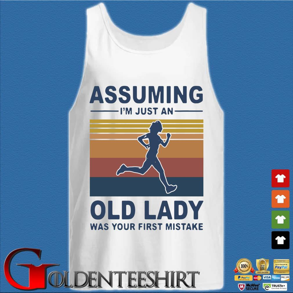 Assuming I'm just an old lady was your first mistake vintage s Tank top trắng