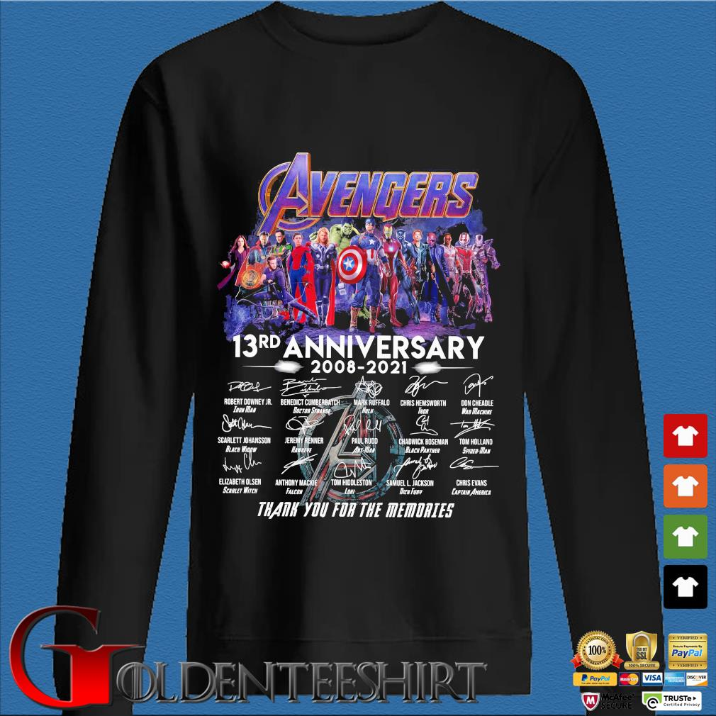 Avengers 13rd anniversary 2008-2021 thank you for the memories signatures shirt