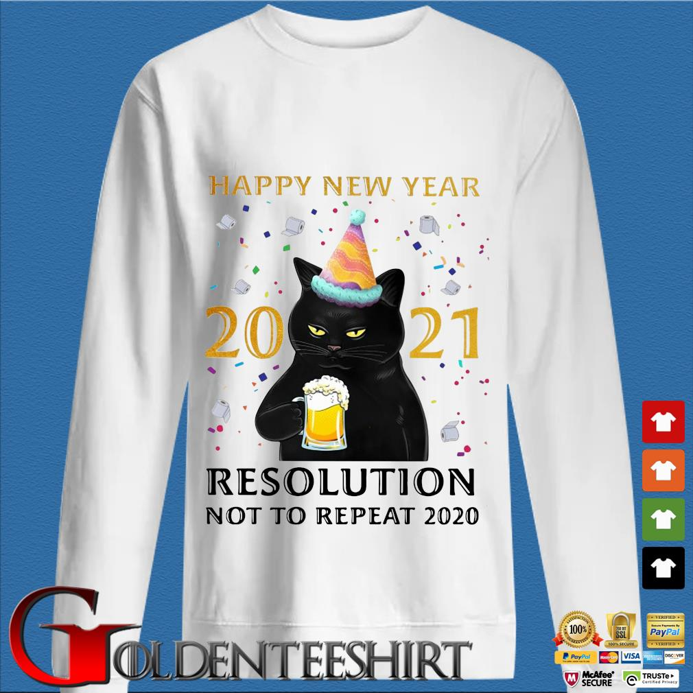 Black cat drink beer Happy New Year 2021 resolution not to repeat 2020 shirt