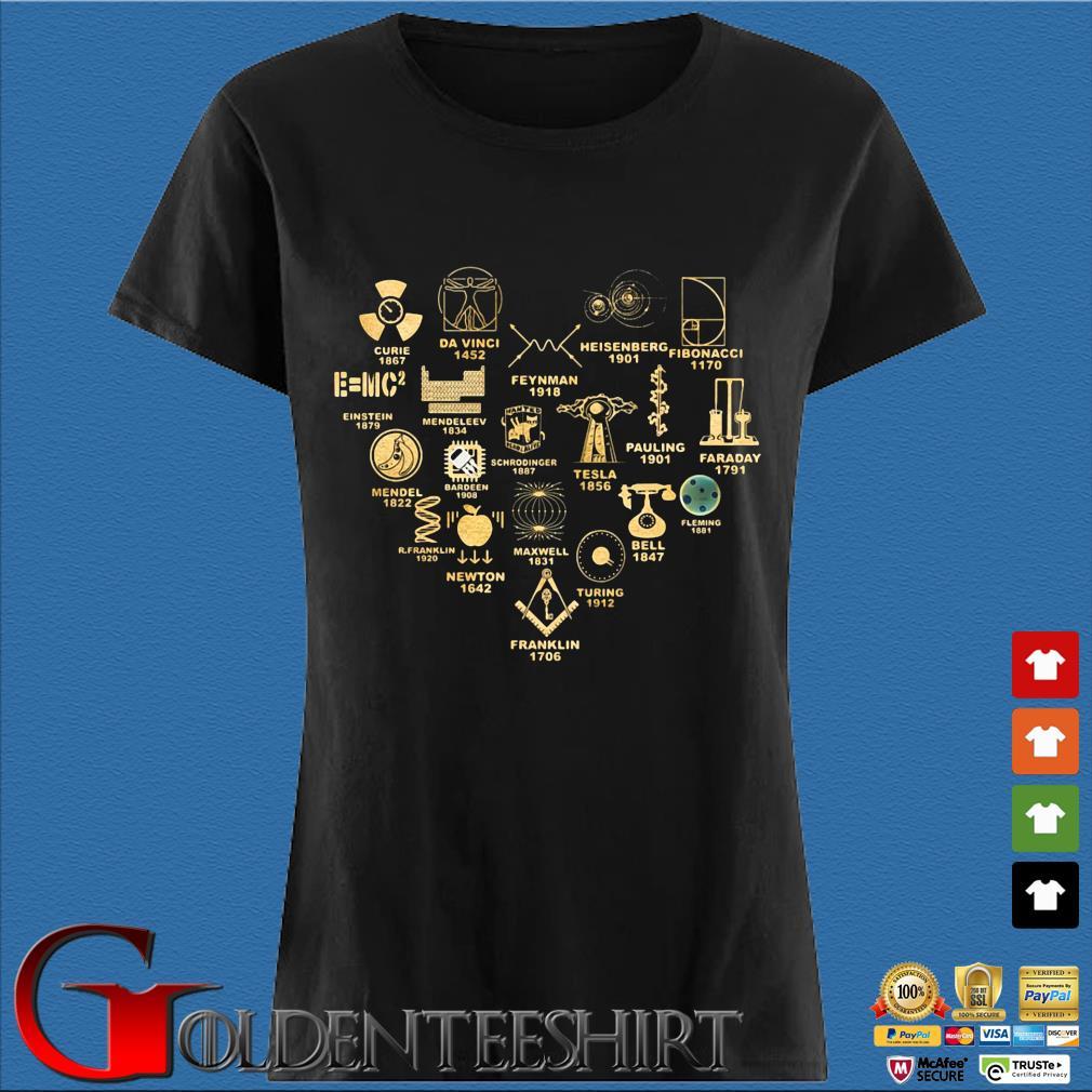 Heart Curie 1867 Da Vinci 1452 Heisenberg 1901 Fibonacci 1170 Shirt Den Ladies