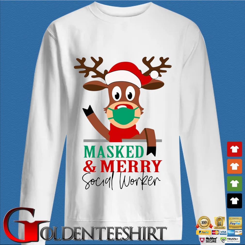 Reindeer face mask masked and Merry Social Worker Christmas sweater