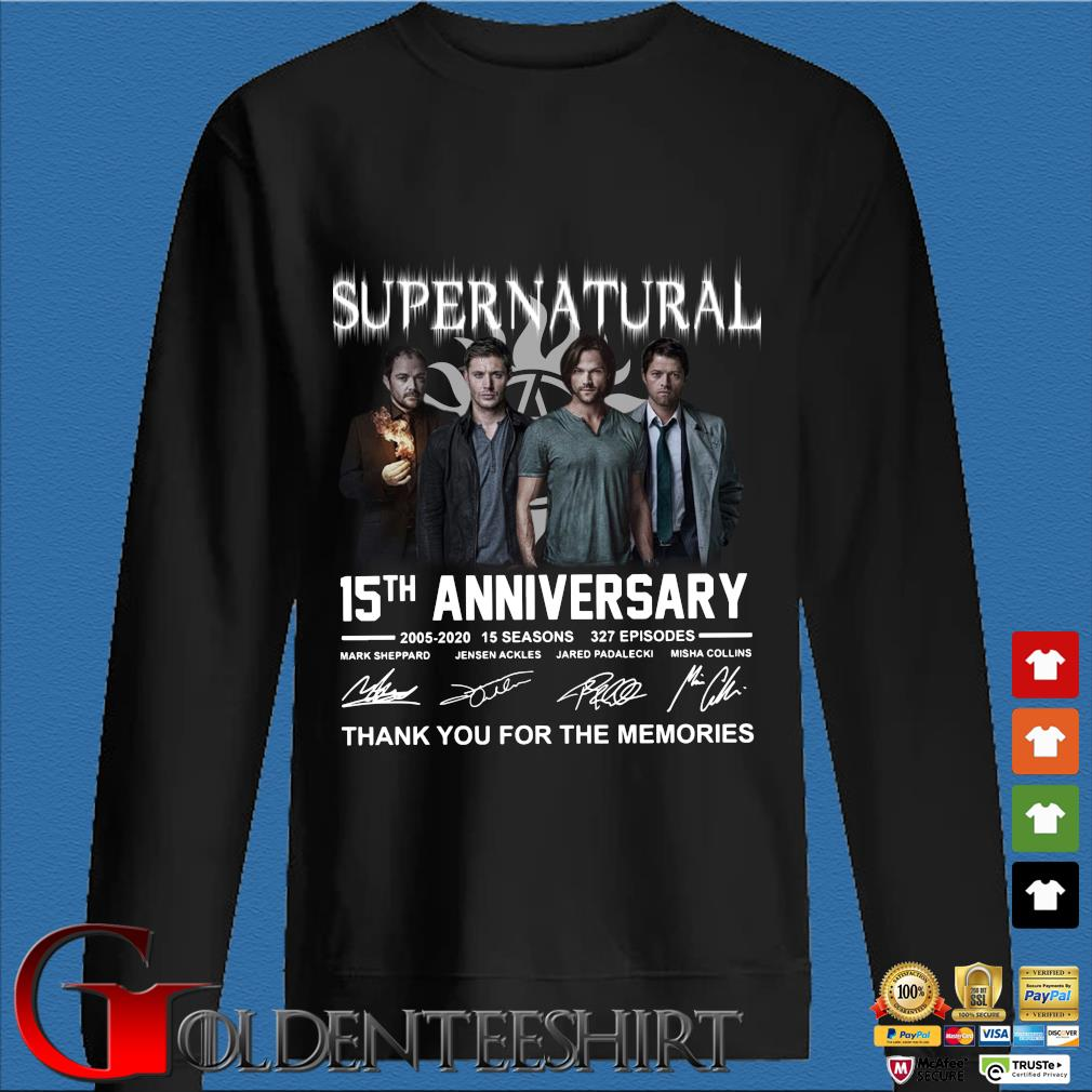Supernatural 15th anniversary signature thank you for the memories shirt
