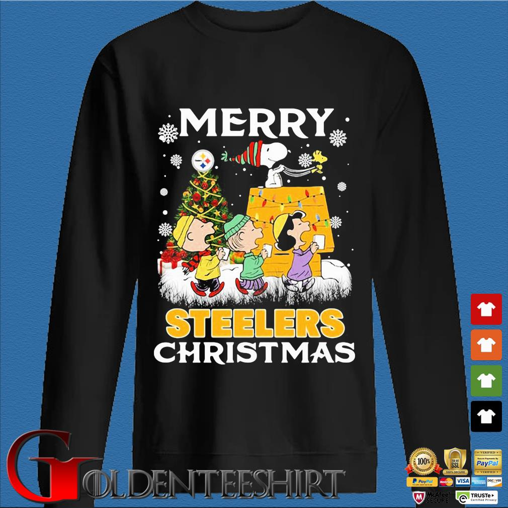 The Peanuts character Snoopy and Friends Merry Pittsburgh Steelers Christmas sweater