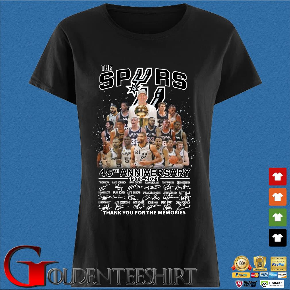 The San Antonio Spurs 45th Anniversary 1976 2021 Signature Thank You For The Memories Shirt Den Ladies