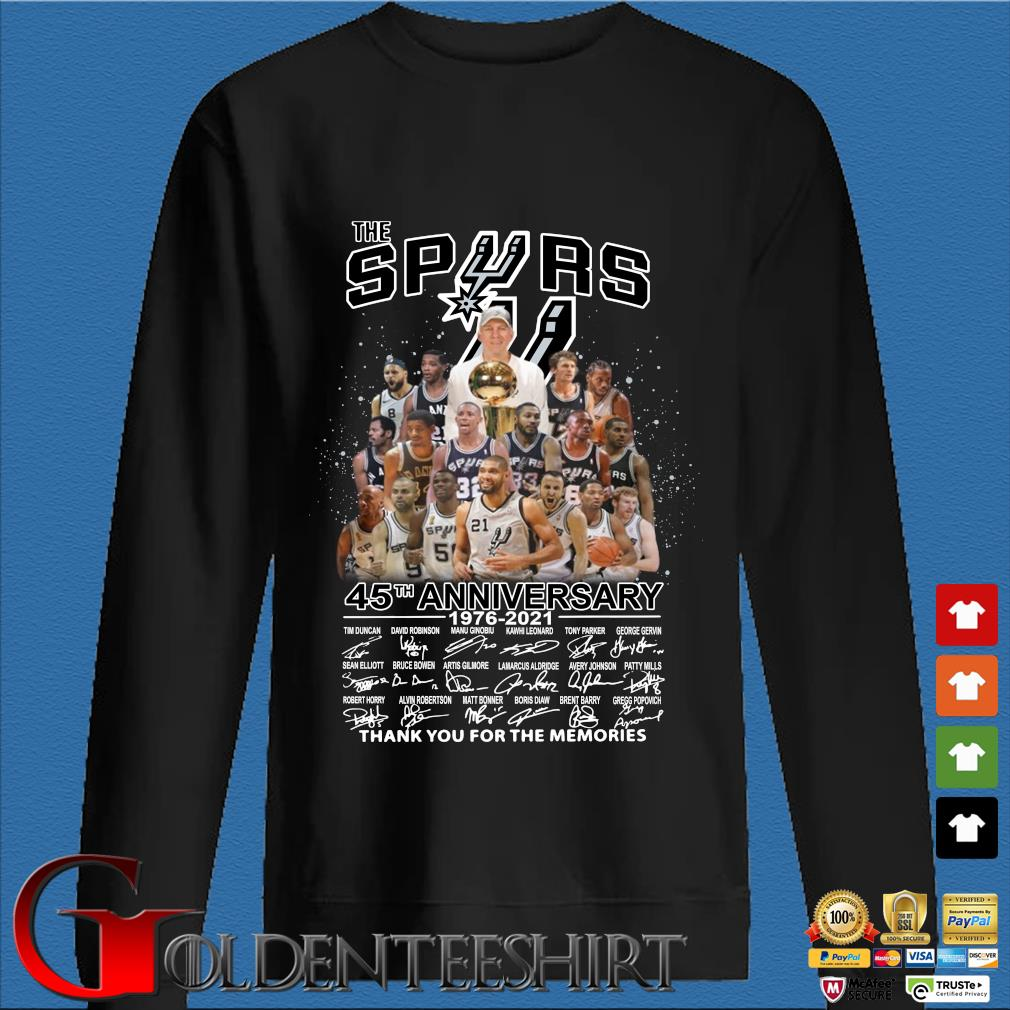 The San Antonio Spurs 45th Anniversary 1976 2021 Signature Thank You For The Memories Shirt