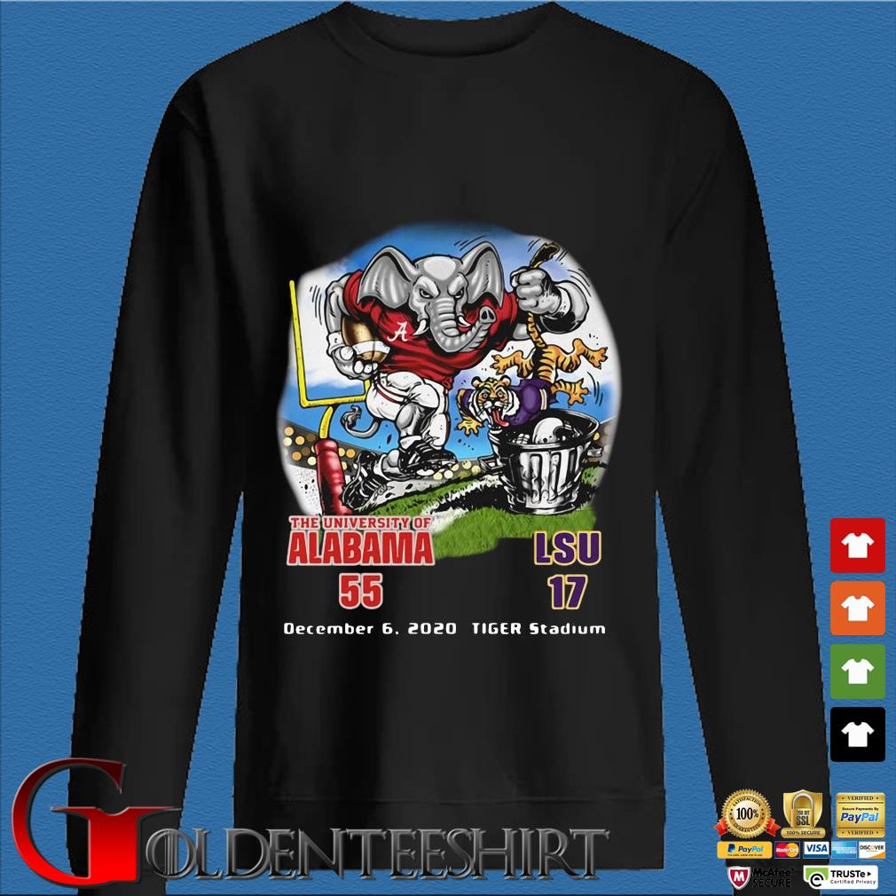 The university of Alabama 55 LSU 17 December 6 2020 Tiger Stadium shirt