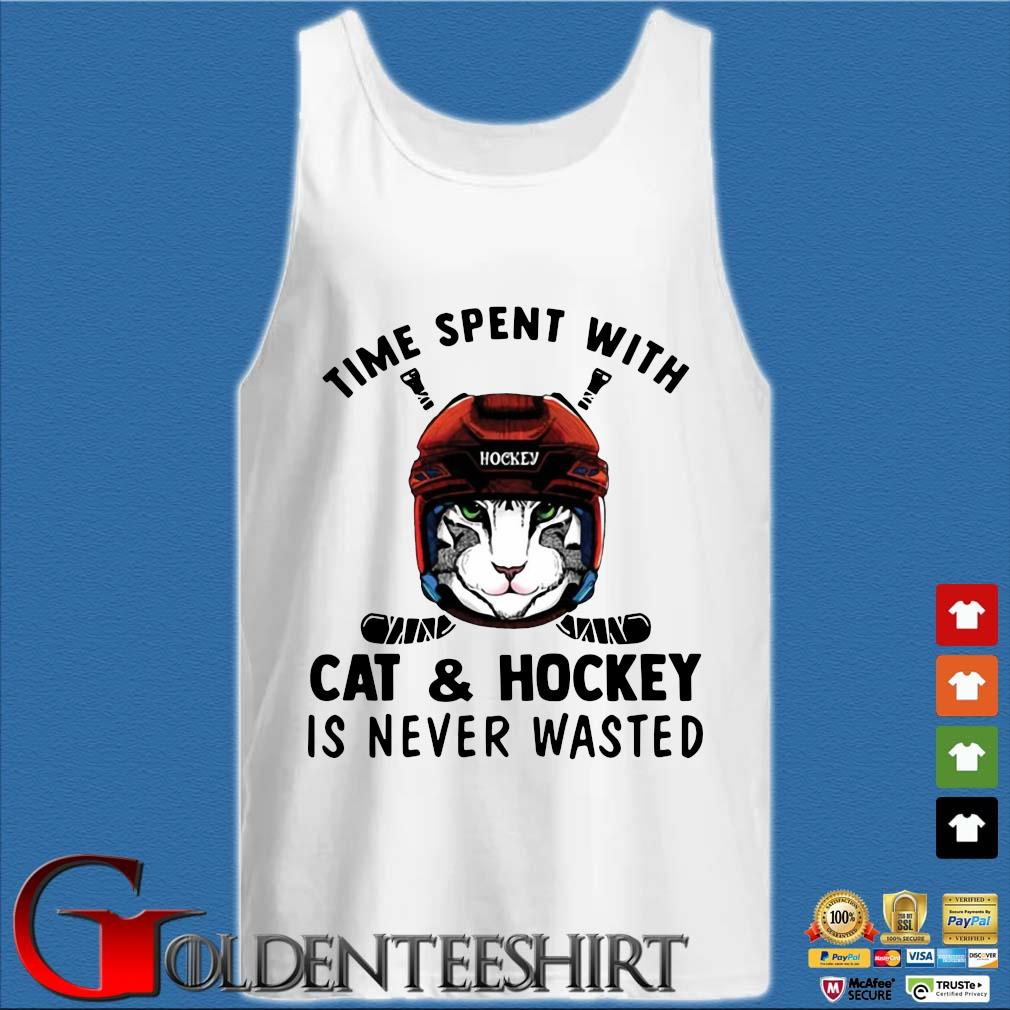Time spent with cat and hockey is never wasted s Tank top trắng